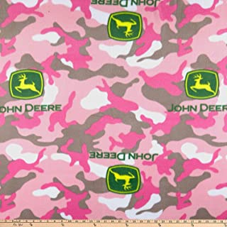 Springs Creative Products John Deere Everyday Fleece Logo Toss On Camo Pink Fabric by the Yard
