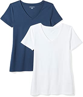 bdf1d12db06 Amazon Essentials Women s 2-Pack Short-Sleeve V-Neck T-Shirt