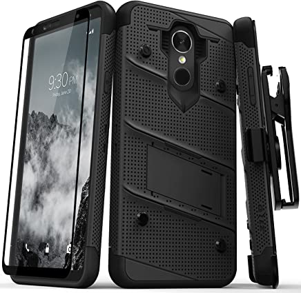 Zizo Bolt Series Compatible with LG Stylo 4 Case Military Grade Drop Tested with Tempered Glass Screen Protector, Holster, Kickstand Black