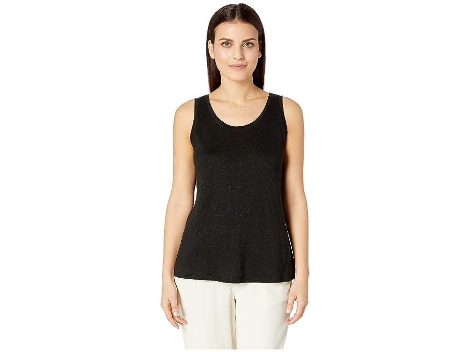 Eileen Fisher Petite Organic Linen Jersey U-Neck Long Tank Top (Black) Women