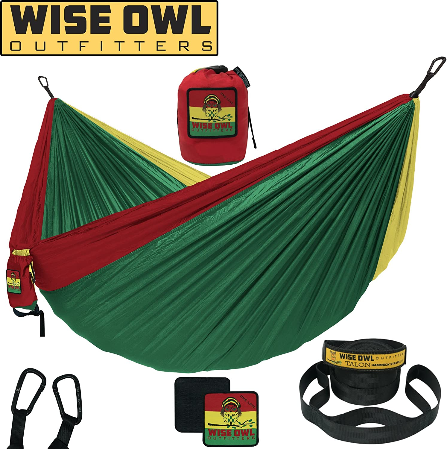 Wise Owl Outfitters Camping Hammock with Tree Straps Premium Double 2 Person Single 1 Person Portable Lightweight Heavy Duty Parachute Hammocks Best Camp Gear Indoor Outdoor Beach SO OL