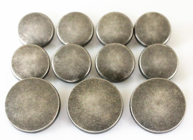 YCEE 11 Pieces Vintage Antique Silver Metal Blazer Button Set - Flat Surface - For Blazer, Suits, Sport Coat, Uniform, Jacket