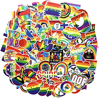 COOLCOOLDE Water Bottle Stickers Gay Pride Stickers 100 pcs Bright Technicolor Rainbow Stickers Car Bike Scooter Suitcase ...