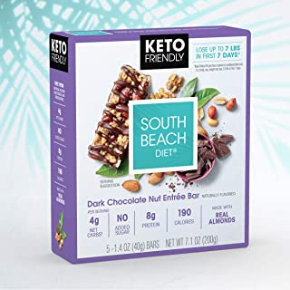 South Beach Diet® Dark Chocolate Nut Entrée Bar (30 ct) - Delicious Bars Made to Support Healthy Weight Loss & Your Keto Lifestyle