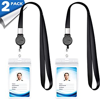 Lanyard with ID Holder (2 Pack) 20 inch Flat Polyester ID Lanyard with Retractable Badge Reel and Vertical Name Badge Holder for Offices ID, School ID, Driver Licence (2)