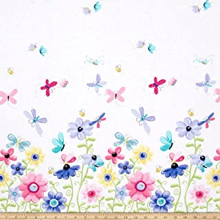 Hamil Textiles 0531609 Butterfly Flutter Double Border Lilac Fabric by The Yard