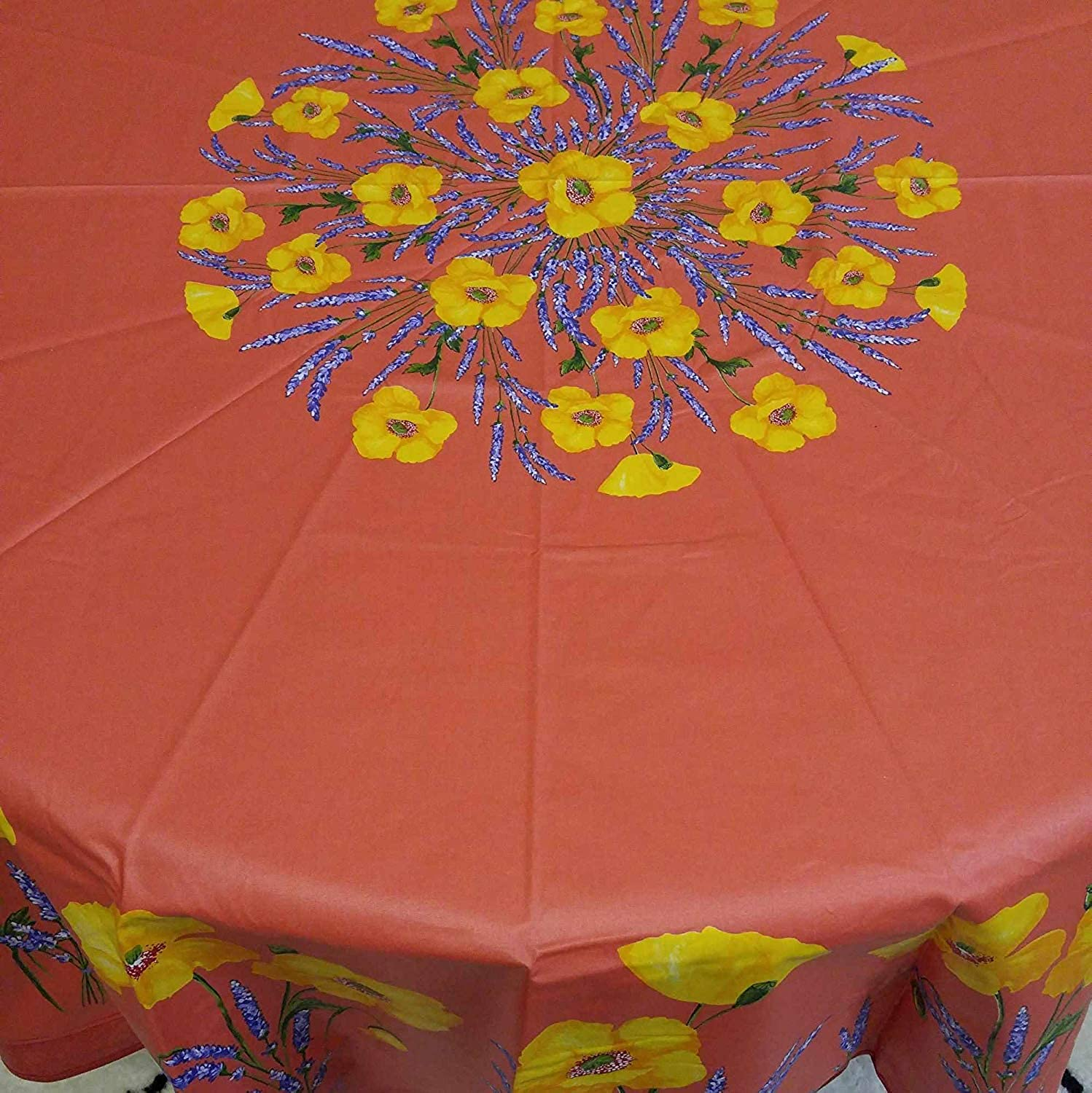 French Provencal Tablecloth Acrylic Coated 100% Cotton (71  Round, Salmon Peach Poppy)