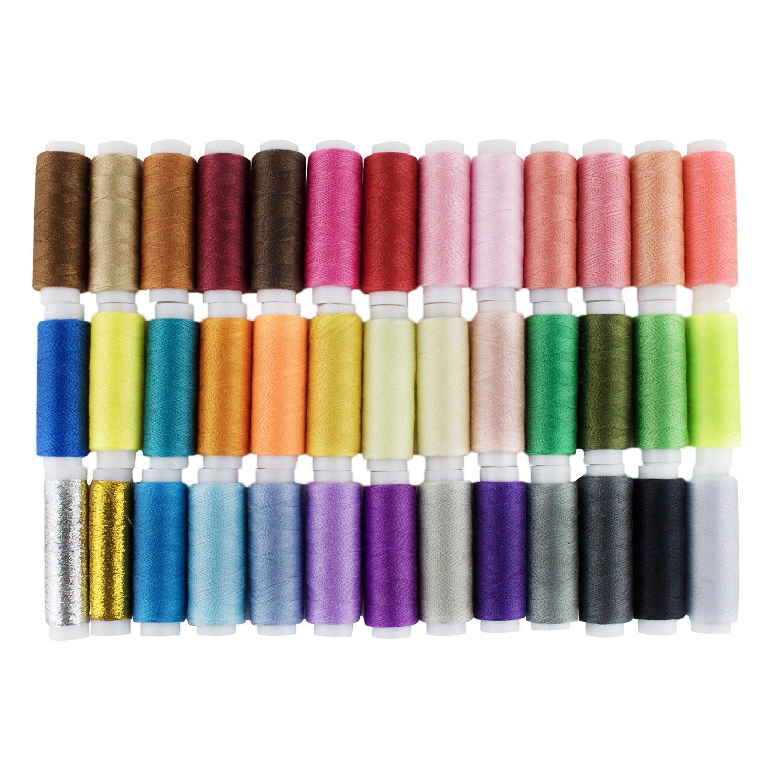 LIHAO Hilos de Coser de Poliéster Hilos de Colores Set (39 Colores ...