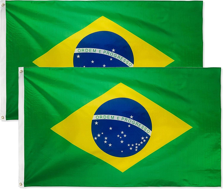 Brazil 3/' x 5/' Ft 210D Nylon Premium Outdoor Embroidered Brazilian Flag