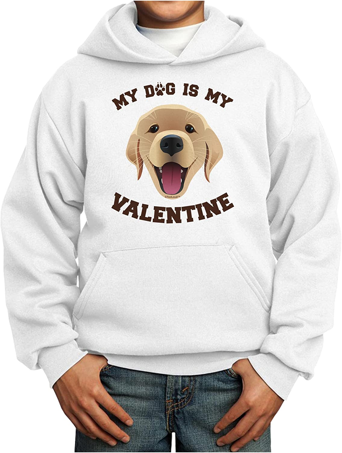 TOOLOUD My Dog is Valentine Gold New Free Shipping Youth Hoodie Yellow Superlatite Pullover