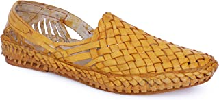 Krafto Men's Kolhapuri Yellow Leather Jutti