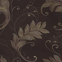 Marcopolo Embroidered Non Woven Wallpaper Dark Brown 53x1000cm