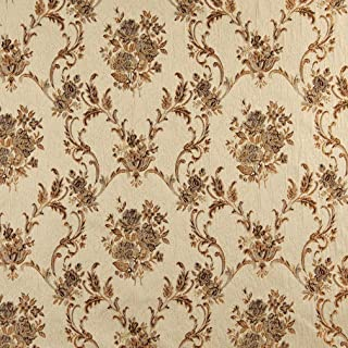 A0014E Beige Gold Brown and Ivory Large Scale Embroidered Floral Brocade Upholstery and Window Treatments Fabric by The Yard