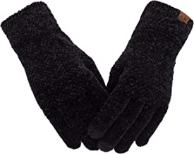 Women's Winter Touch Screen Gloves Chenille Warm Cable Knit Touchscreen Texting Elastic Cuff Thermal Gloves