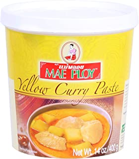 Mae Ploy Yellow Curry Paste, Authentic Thai Curry Paste for Curries and Soups (14oz Tub)