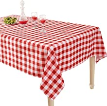 YEMYHOM 100% Polyester Spillproof Tablecloths for Rectangle Tables 60 x 104 Inch Indoor Outdoor Camping Picnic Rectangular Table Cloth (Red and White Checkered)