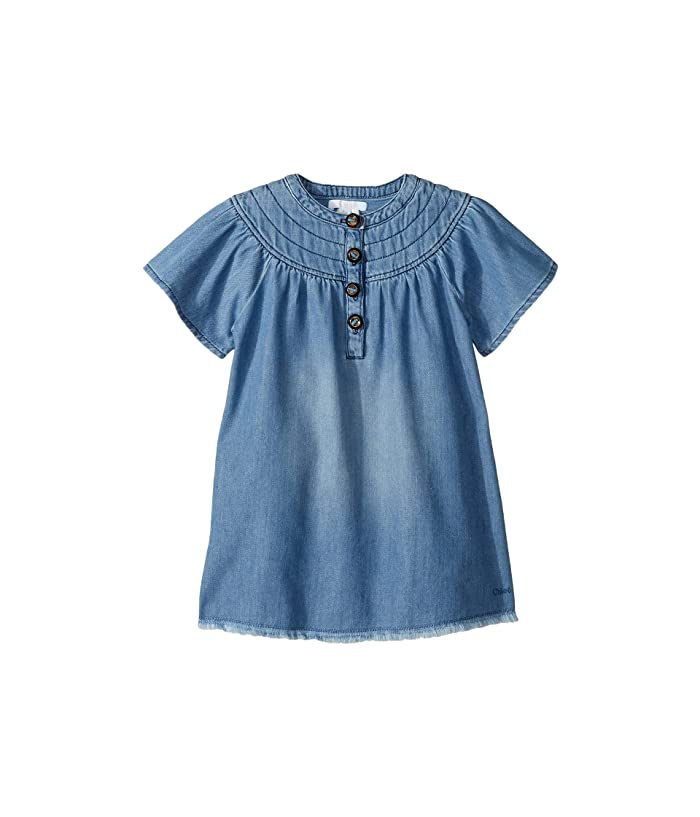 Chloe Kids Light Denim Dress, Stitched Yoke with Horn Buttons (Toddler/Little Kids) (Denim Blue) Girl
