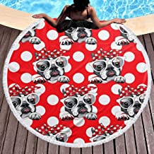 Round Beach Towel Bulldog Dog Hipster Bow Large Blanket with Tassels Ultra Soft Multi-Purpose Beach Throw 59 Inch