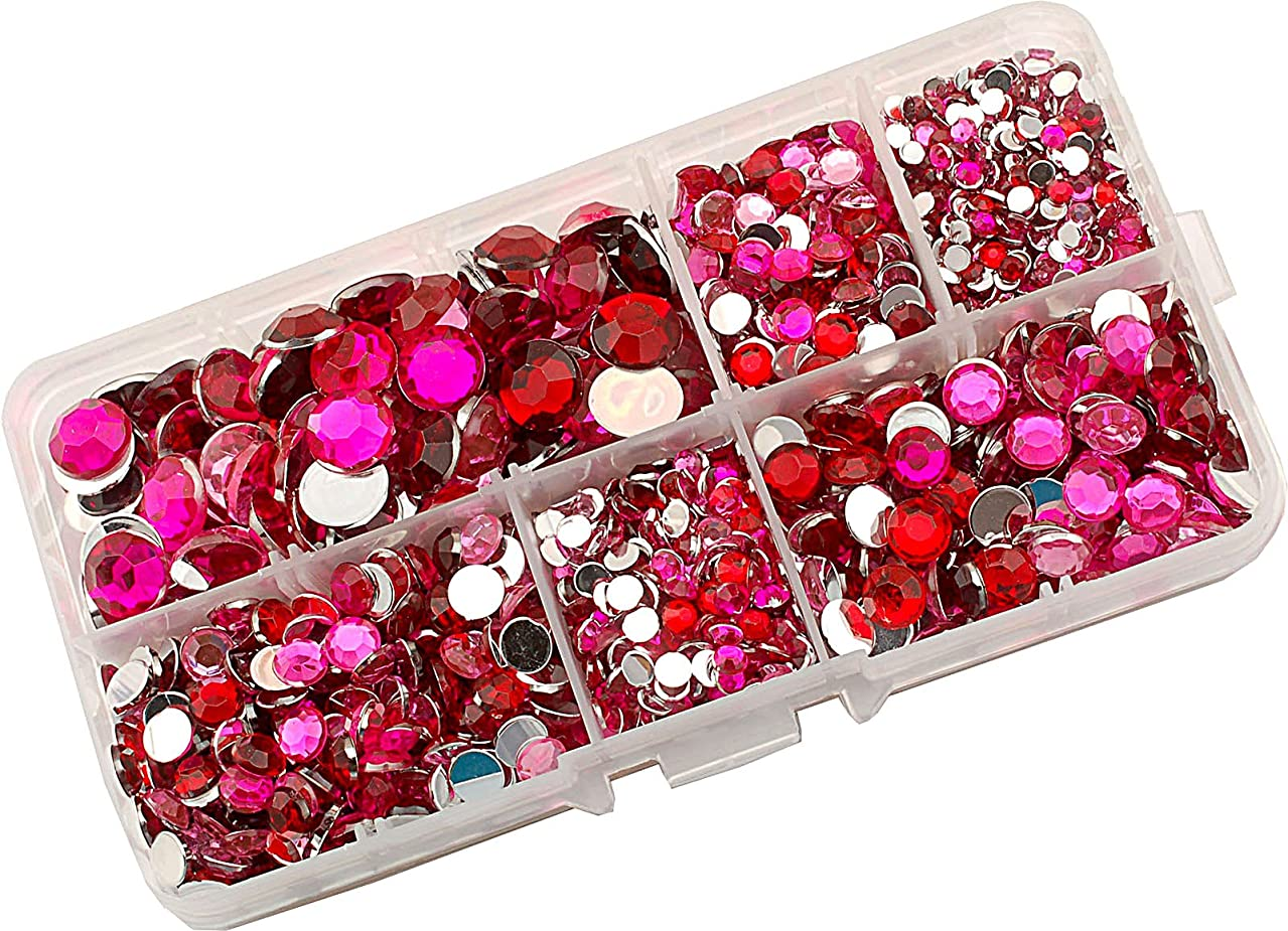 Summer-Ray 3mm to 10mm Red and Pinks Flat Back Rhinestone Collection In Storage Box
