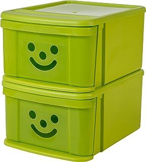 Iris Ohyama SSD-MD Set de 2 boîtes-tiroirs superposables Smiley Kids, Plastique, Pistachio, 36x28,5x37 cm