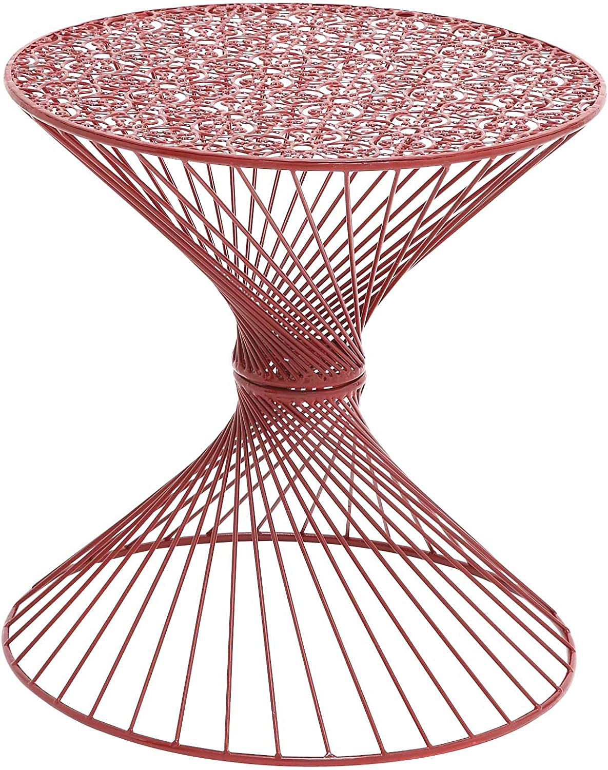 Benzara Interesting Styled Metal Accent Table, 19.2 by 19.2 by 19.2-Inch, Red