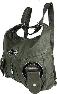 Kumixi Jody 89297, 2in1 Damen Rucksackhandtasche, Handtasche und Rucksack 37x28x15cm grau anthrazit dunkelgrau W6802