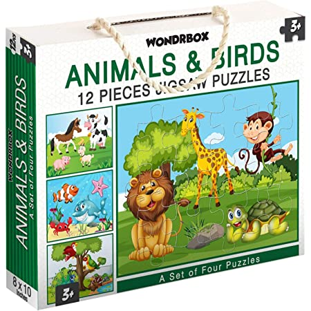WONDRBOX Animal and Birds Jigsaw Puzzle for Kids of Age 3-5 Years, Set of 4 (Multicolour, Size 10X8 inches)