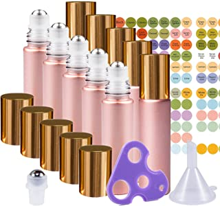 Rose Gold Ultimate Essential Oil Roller Bottles Set with Stainless Steel Balls, 10 Pack 10ml Leakproof Glass Bottle with 11 Rollerballs for Perfume & Aromatherapy Oils 1 Funnel + Opener & 192 Labels