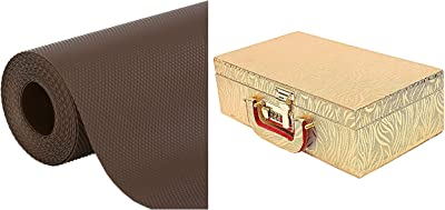 Kuber Industries Wooden Two Rod Bangle Storage Box (Gold) -CTKTC8692 & Multipurpose Textured Super Strong Anti-Slip Mat Liner - Size 45X150Cm (1.5 Meter Roll, White) - CTKTC022135 Combo