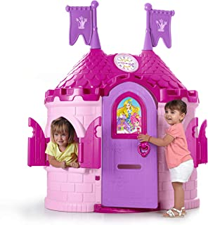ECR4Kids Junior Princess Palace Playhouse, Pink Castle Playhouse with Working Doorbell, Full-Sized Door with Mail Slot and Shutters, Indoor or Outdoor Play, Over 6 Feet Tall