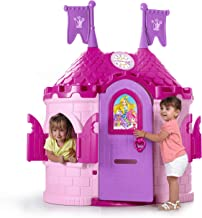 ECR4Kids Junior Princess Palace Playhouse, Pink Castle Play House with Working Doorbell, Full-Sized Door with Mail Slot and Shutters, Indoor or Outdoor Play, Over 5 Feet Tall