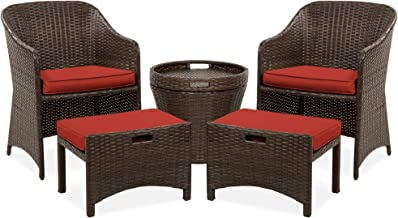 Best Choice Products 5-Piece Outdoor Wicker Bistro Set Multipurpose Furniture for Patio, Yard, and Garden w/ 2 Chairs, 2 O...
