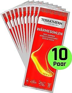 TerraTherm Plantillas Calentadoras - 10 Pares, calientapiés, Almohadillas térmicas, 100% Calor Natural, Almohadillas térmicas con Forma de Plantillas para 8 Horas de pies Calientes