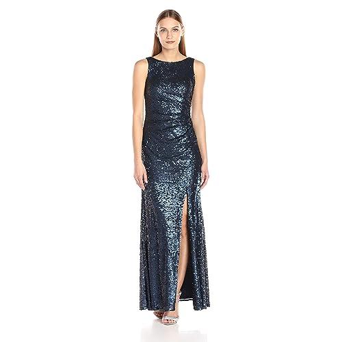 eea5615d852c Adrianna Papell Women's Sleevless Sequin Paillette Halter Neck Gown