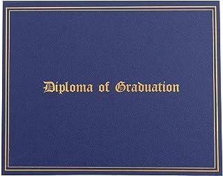 毕业证书夹 - 证书夹,带金色箔印,信纸大小*纸的证书封,4 个角丝带,*蓝,29.21 x 22.86 厘米