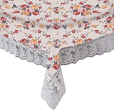 Kuber Industries Floral Print PVC Table Cover for Centre Table and 4 Seater Dining Table, Cream-KUBMART010151_Standard