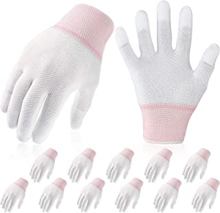 12 Pairs Quilting Grip Gloves Machine Quilting Gloves for Free-Motion Quilting White Nylon Quilting Gloves for Sewing Quil...