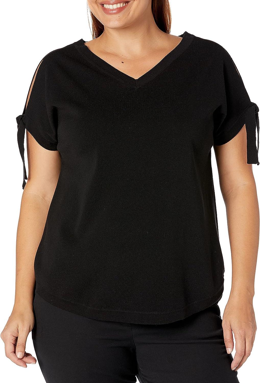 Anne Klein Women's Size Plus Criss Cross Back Sweater Top