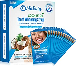 MitButy Tiras Blanqueadoras de Dientes con Aceite de Coco Natural, 28 Tiras Blanqueadoras Antideslizantes – Tiras de Blanqueamiento Dental Profesionales con Efectos Seguros Para 14 Tratamientos