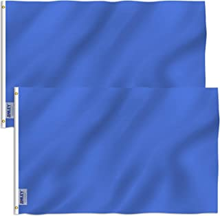 Anley Pack of 2 Fly Breeze 3x5 Foot Solid Navy Blue Flag - Vivid Color and UV Fade Resistant - Canvas Header and Double Stitched - Plain Royal Blue Flags Polyester with Brass Grommets 3 X 5 Ft