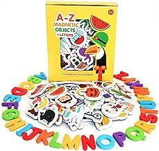 Curious Columbus imanes magnéticos de Objetos y Letras por Juego DE 52 imanes de Foam, Más 26 imanes de Alfabeto de A-Z. Mejor Juguete Educativo para el Aprendizaje Preescolar