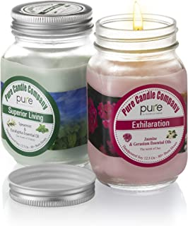 Pure Naturally Scented Aromatherapy Candles Gift Set, 2-Pack Jasmine & Spearmint Essential Oil Soy Candles Large Mason Jar, 12.5 oz. Natural Home Fragrance Candles, Best Gift for Women! …