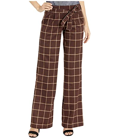 HUE Plaid Wide Leg Leggings (Brown) Women