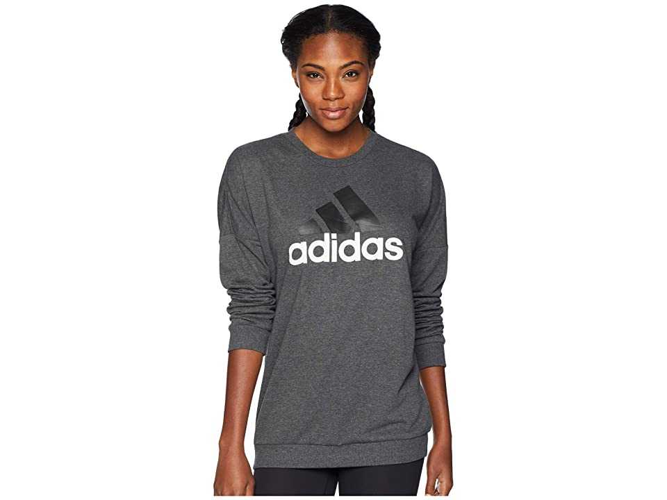 adidas Badge of Sport Pullover (Dark Grey Heather/White) Women