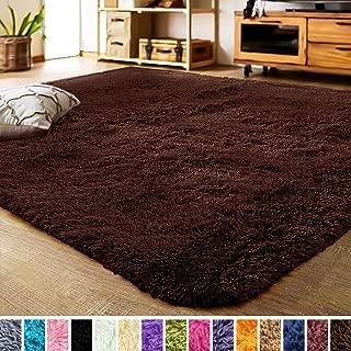 LOCHAS Luxury Velvet Living Room Carpet Bedroom Rugs, Fluffy, Super Soft Cozy, Bright Color, High Pile, Floor Area Rugs for Girls Room, Kids, Nursery and Baby (5.3x7.5 Feet, Brown)