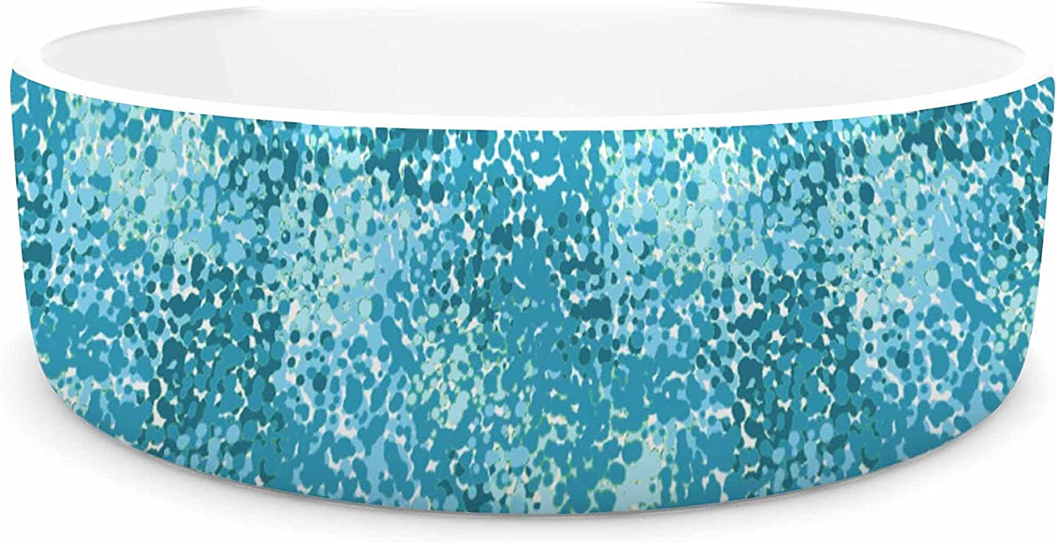 KESS InHouse Carolyn Greifeld Painterly bluees White Abstract Pet Bowl, 7