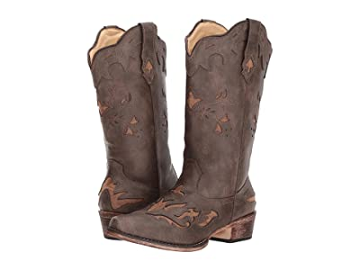 Roper Spade (Brown Faux Leather Vamp) Cowboy Boots