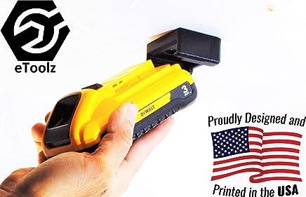 DeWALT V20 Li-Ion 20V Battery stealth Mount and dust cover from battery slot, 3D printed in Black PLA by eToolz.