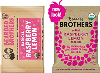 Bearded Brothers Vegan Organic Energy Bar | Gluten Free, Paleo and Whole 30 | Soy Free, Non GMO, Low Glycemic, Packed with Protein, Fiber + Whole Foods | Raspberry Lemon | 12 Pack