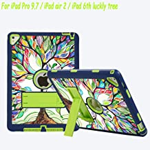 iPad Pro 9.7 Case, iPad Air 2 Case, ZERMU Lucky Tree Design Kickstand Shockproof Silicone High Impact Resistant Hybrid Three Layer Hard Plastic+Silicone Defender Cover for iPad Pro 9.7/ iPad Air 2